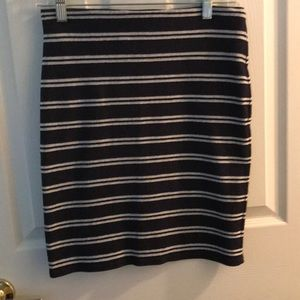 Navy blue and gray pencil skirt
